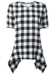 Victoria Beckham Oversized Gingham Checkered Blouse Black