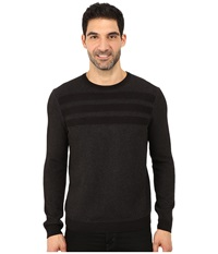 Calvin Klein Cotton Acrylic Moss And Garter Stitch Crew Neck Sweater Black Men's Sweater