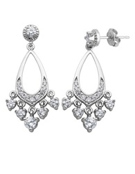 Lord And Taylor Sterling Silver And Cubic Zirconia Chandelier Earrings
