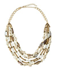 Emily And Ashley Greenbeads By Emily And Ashley Multi Strand Layered Stone Bib Necklace White Turquoise
