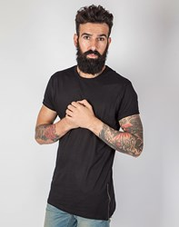 The Idle Man Short Sleeve T Shirt With Zips Black