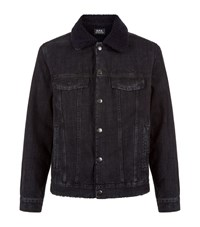 A.P.C. Apc Western Shearling Denim Jacket Male Black