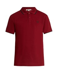 Mcq By Alexander Mcqueen Icon Logo Print Cotton Polo Shirt Burgundy