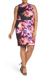 Vince Camuto Plus Size Women's Floral Print Sleeveless Scuba Sheath Dress Pink Multi