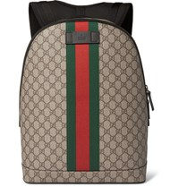 Gucci Leather Trimmed Monogrammed Coated Canvas Backpack Brown