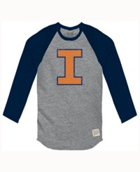 Retro Brand Men's Illinois Fighting Illini Color Block Long Sleeve T Shirt Gray