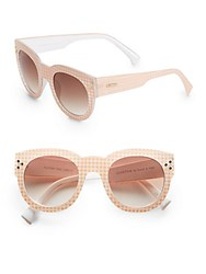 Minkpink 50Mm Gingham Round Sunglasses Blush