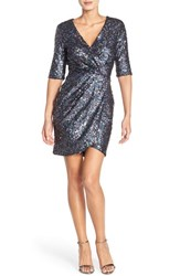 French Connection Women's Sequin Mesh Faux Wrap Dress