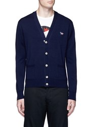 Maison Kitsune Fox Logo Applique Virgin Wool Cardigan Blue