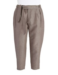 424 Fifth Plus Cropped Linen Ankle Pants Dark Olive