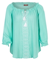 Buffalo Blouse Tuerkis Weis Light Blue