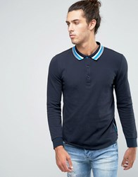 Ellesse Italia Knitted Long Sleeve Polo Shirt Navy