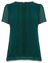 Oasis Layered Dobby Top Deep Green