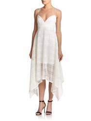 Nicholas Geometric Lace Handkerchief Hem Dress White