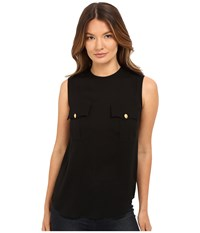 Dsquared Silk Georgette Sleeveless Top Black Women's Sleeveless