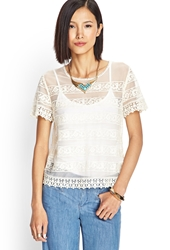Forever 21 Crochet Mesh Top Cream