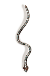 Ileana Makri 18Kt White Gold Lucky Snake Pendant With Diamonds