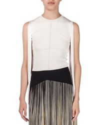 Christopher Kane Sleeveless Fringed Knit Top Cream Ivory Size Medium