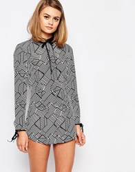 Reclaimed Vintage X Liquid Lunch Romper With Collar Detail Multi