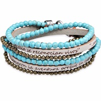 Platadepalo Bracelet With Leather And Turquoise Nude Neutrals Gold