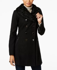 Guess Faux Fur Collar Double Breasted Peacoat Black