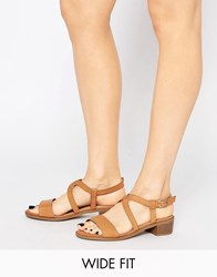 New Look Wide Fit Strappy Flat Sandal Tan