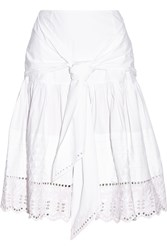 Suno Broderie Anglaise Paneled Stretch Cotton Poplin Skirt White