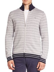 Lacoste Striped Zip Front Cardigan Grey Multi