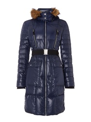 Andrew Marc New York Long Padded Coat With Belt Navy