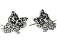 Marc Jacobs Charms Owl Studs Earrings Jet Multi Antique Silver