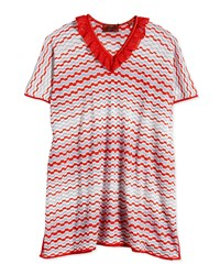 Missoni Mare Grechina Zig Zag Stripe Caftan Red Light Blue Multicolor