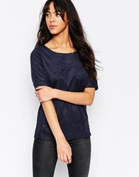 Minimum Boxy Top With Perforated Side Detail Twillight Blue