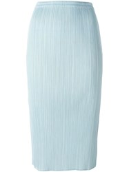 Issey Miyake Vintage Pleated Pencil Skirt Blue
