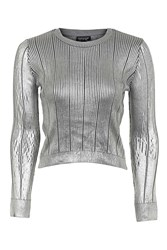 Topshop Foil Pointelle Crop Knitted Top Silver