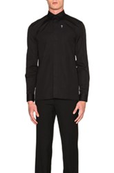 Givenchy Cross Embroidery Button Down Shirt In Black