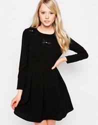 Jovonna Claudia Skater Dress With Embellishment Black