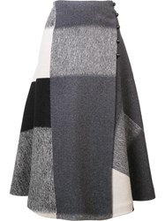 Carolina Herrera Square Pattern Wrap Skirt Grey