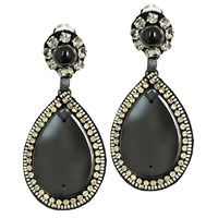 Ranjana Khan Glamorous Teardrop Earrings Black