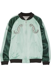 Opening Ceremony Cash Reversible Embroidered Silk Satin Bomber Jacket Light Green
