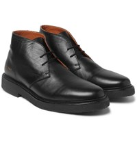 Common Projects Saffiano Leather Desert Boots Black