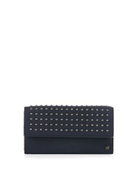 Neiman Marcus Studded Flap Top Continental Wallet Navy