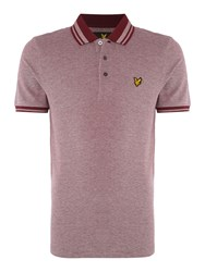 Lyle And Scott Short Sleeve Oxford Tipped Collar Polo Shirt Claret