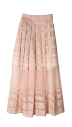 Tibi Striped Organza Midi Skirt