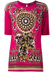 Roberto Cavalli Abstract Print T Shirt Pink Purple