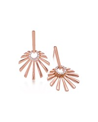 18K Pink Gold Mini Retro Sun Earrings With Diamonds Frederic Sage Green