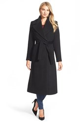 Kristen Blake Women's Long Wool Blend Wrap Coat Black