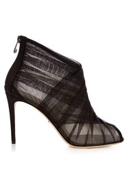 Dolce And Gabbana Pleated Tulle Open Toe Ankle Boots Black