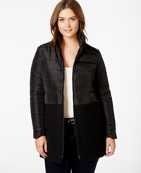 Junarose Plus Size Quilted Combo Puffer Coat