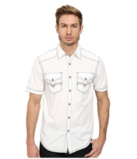 Affliction Out Of The Slinch Woven Shirt White Men's Short Sleeve Button Up
