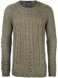 Roberto Collina Cable Knit Jumper Green